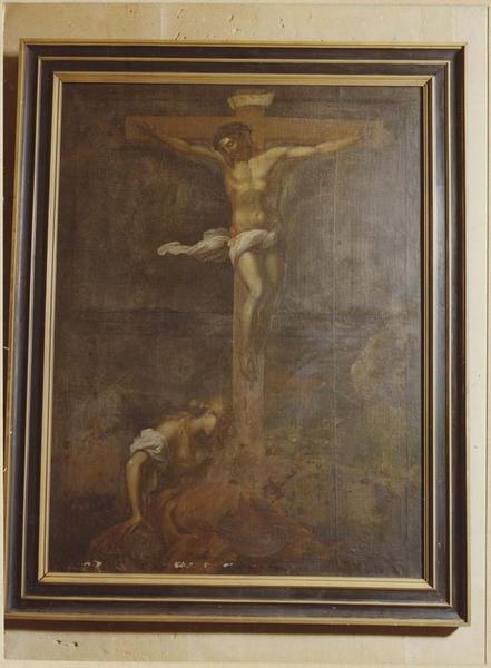 Tableau : le Christ en croix avec la Madeleine