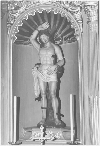 Autel secondaire de saint Sébastien (détail de la sculpture centrale)