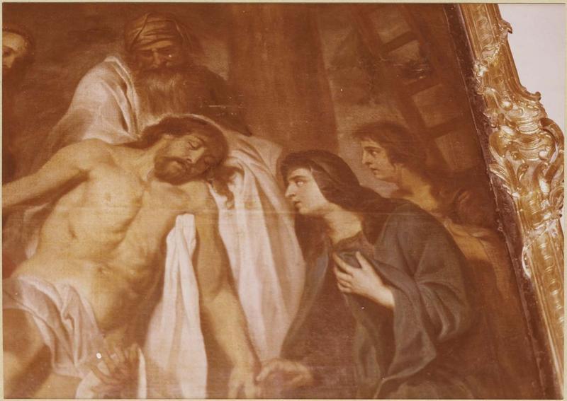Tableau, cadre : la Descente de Croix (détail)