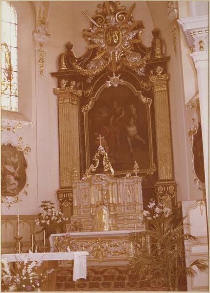 autel, 2 gradins d'autel, tabernacle, exposition, retable, tableau : la Charité de saint Martin (maître-autel)