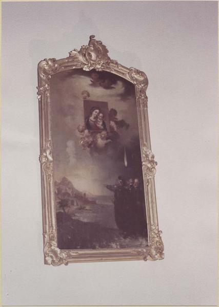 tableau et cadre : la Translation miraculeuse de l'Image de Notre-Dame du bon-Conseil