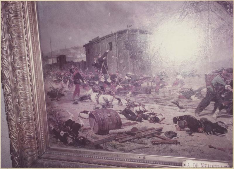 Tableau, cadre : épisode de la bataille de Forbach : le combat de la passerelle de Stiring-Wendel du 6 aout 1870 (détail)