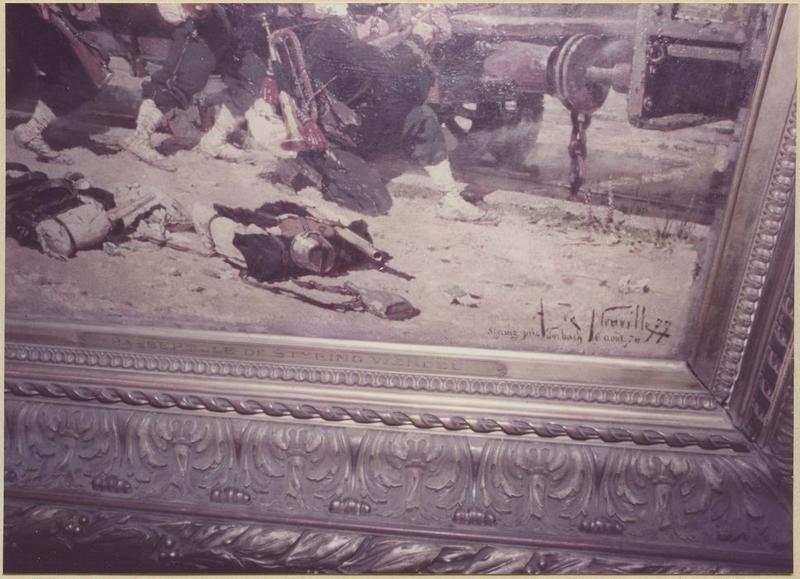 Tableau, cadre : épisode de la bataille de Forbach : le combat de la passerelle de Stiring-Wendel du 6 aout 1870 (détail signature)