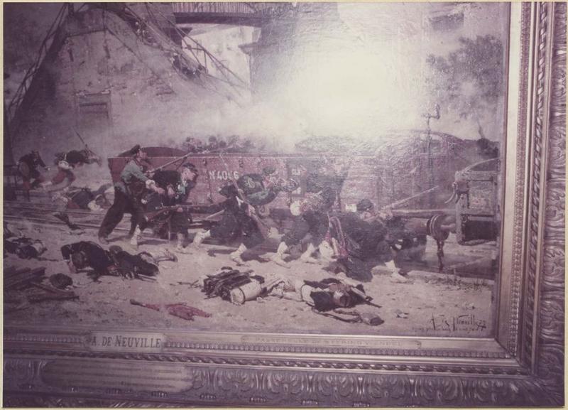 Tableau, cadre : épisode de la bataille de Forbach : le combat de la passerelle de Stiring-Wendel du 6 aout 1870 (détail coin inférieur droit)