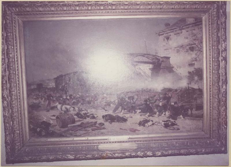 Tableau, cadre : épisode de la bataille de Forbach : le combat de la passerelle de Stiring-Wendel du 6 aout 1870 (vue d'ensemble)