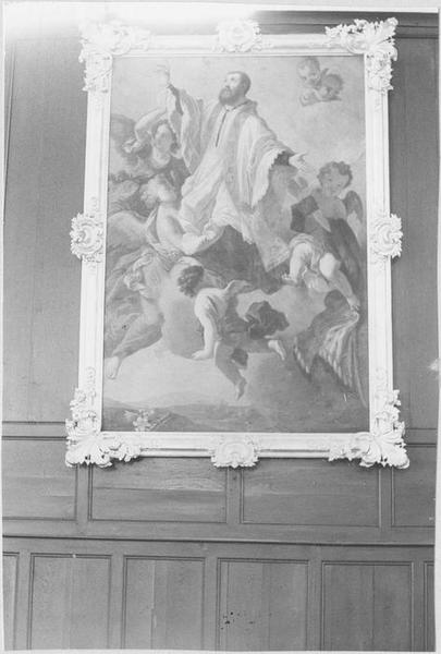 Tableau, cadre : saint Pierre Fourier emporté par les anges