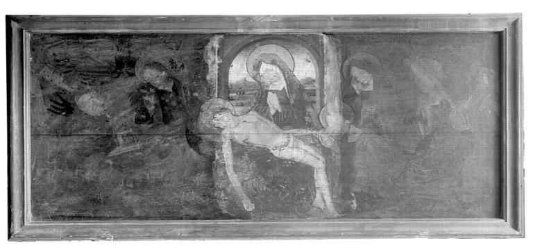 Panneau peint : Vierge de Pitié entourée de saints et de  donateurs, état avant restauration