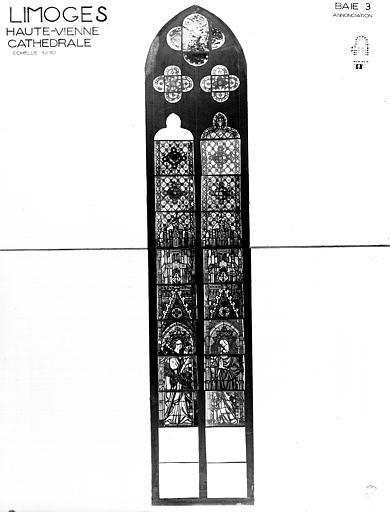 Verrière : l'Annonciation, le Calvaire (baie 300, ensemble des vitraux anciens)