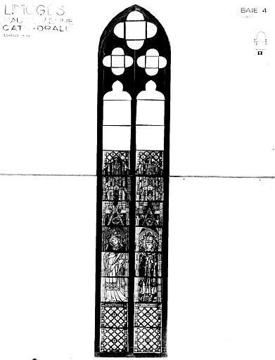 Verrière : saint Etienne, saint Aurélien (baie 302, ensemble des vitraux anciens)