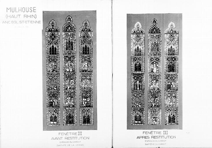 Photomontage de vitrail, baie III : Nativité de la Vierge et  Scènes de l'enfance du Christ