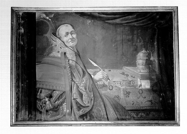 Peinture sur toile située dans la sacristie : saint Grégoire le Grand