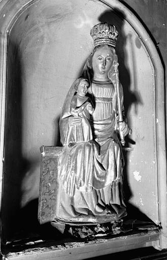Statue en bois peint et doré, niche côté sud du choeur : Vierge à l'Enfant
