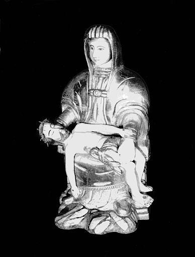 Statue en bois, trois-quart senestre : Vierge de Pitié