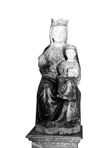 Statue en bois polychromé : Vierge à l'Enfant