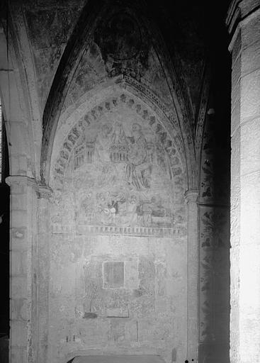 Peinture murale : Couronnement de la Vierge et anges musiciens