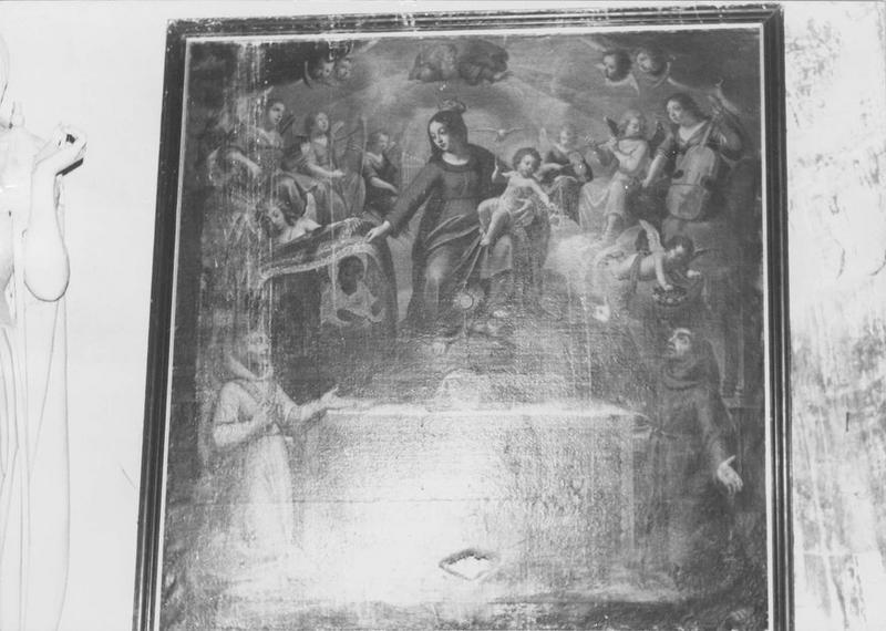 Tableau : saint sacrement exposé entre saint Dominique et saint François. au-dessus la Vierge à l'Enfant entourée d'anges musiciens (le)