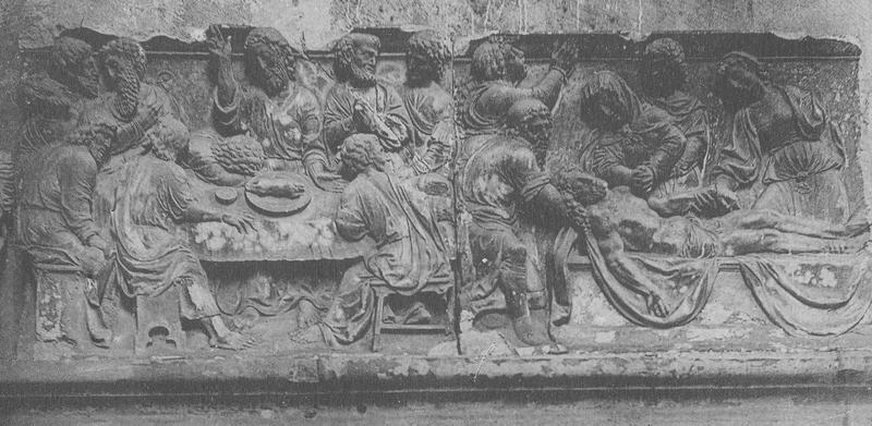 Retable, 2 bas-reliefs : la Cène, la Mise au tombeau