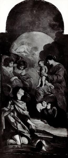 Tableau : saint Michel dédiant ses armes à la Vierge, vue générale