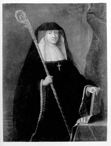 Portrait sur toile : Madame de Belzunce abbesse du Rouceray, morte en 1742, état après restauration