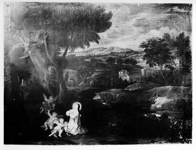 2 tableaux : saint Bruno et sainte Catherine de Sienne dans un paysage