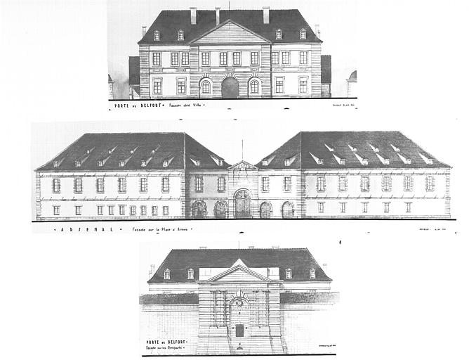 Plans : façade sur la place d'Armes et de la Porte de Belfort, façade sur les remparts et côté ville