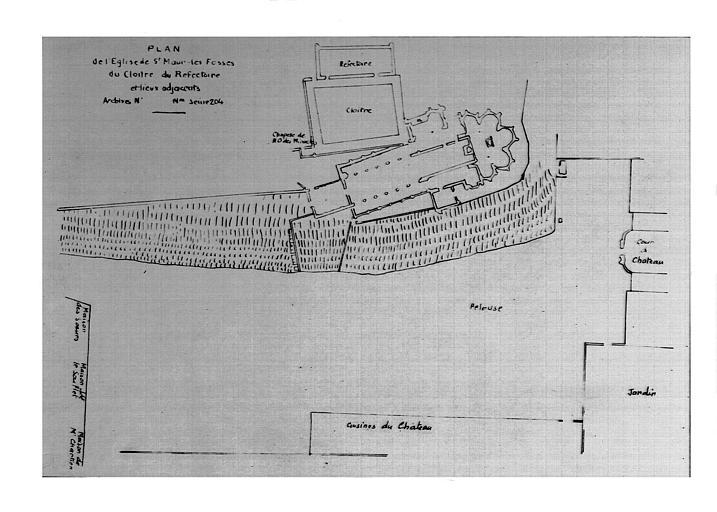 Cloître et réfectoire : copie d'un plan dessiné, conservé à la Bibliothèque Nationale (Cabinet des estampes)