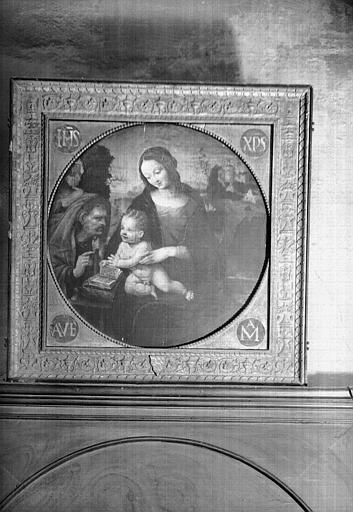 Vierge à l'Enfant et sainte Anne avec cadre aux armes des Rochefort d'Ally en bois sculpté