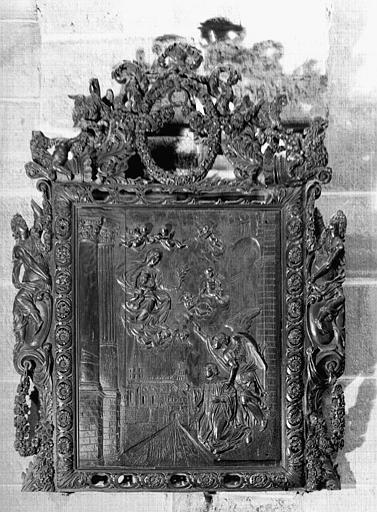 Relief en bois : Le Voeu d'Hugues de Collonges