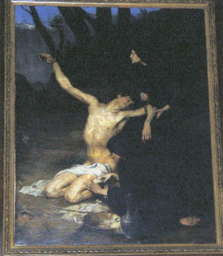 Tableau : Saint Sébastien soigné par sainte Irène, huile sur toile, début 20e siècle