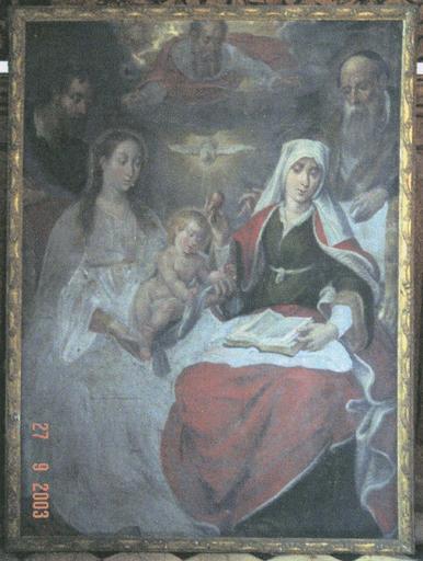 Tableau : Sainte Parenté, huile sur toile, 17e siècle