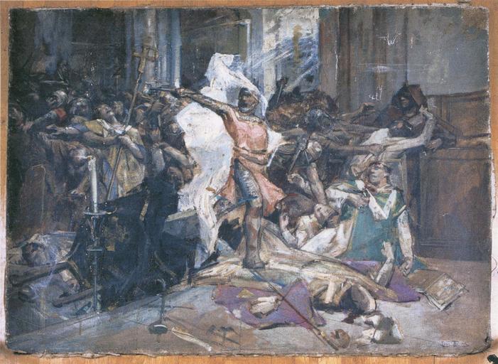 Tableau : l'Assassinat de saint Thomas Beckett, archevêque de Canterbury
