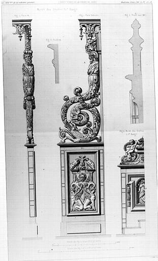 Dessin de stalles en bois du 17e siècle