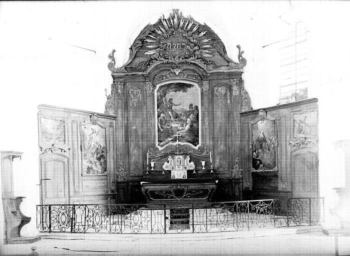 Retable du maître-autel, bois sculpté et toile