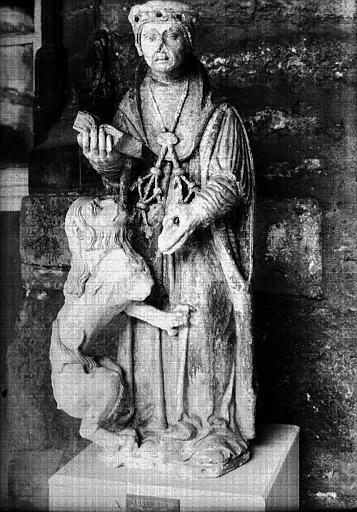 Statue en pierre polychromée : saint Jérôme ou saint Anatoile
