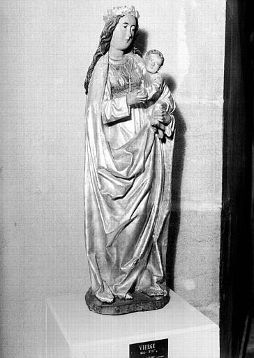 Statue en bois doré et polychromé : Vierge à l'Enfant