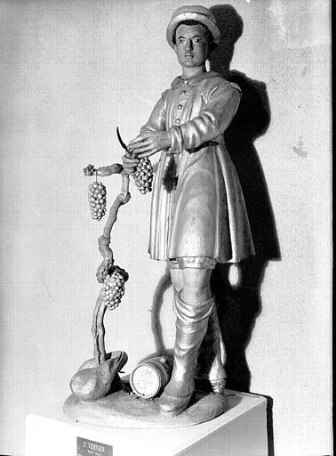 Statue en bois doré et polychromé : saint Vernier