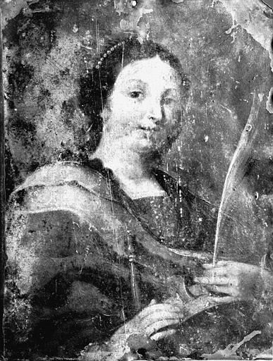 Peinture sur cuivre : sainte Catherine