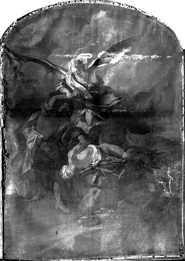 Peinture sur toile : Sacrifice d'Abraham, état avant restauration