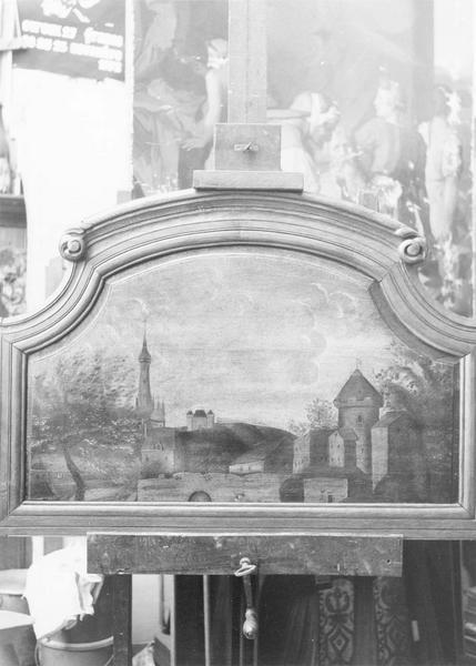 tableau (panneau peint) et son cadre : les Remparts et l'église Notre-Dame, vue générale