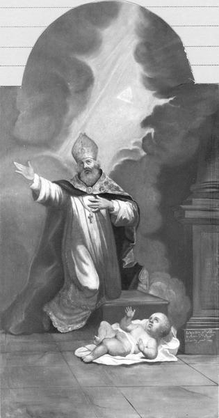 Tableau : saint Augustin et un enfant, vue générale