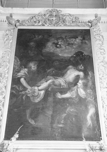 tableau : La Mise au tombeau ou l'Ensevelissement du Christ, cadre, vue générale