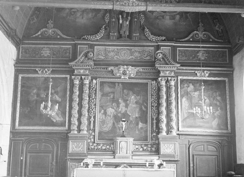 maître-autel, retable, 3 tableaux : L'Annonciation, L'Adoration des Mages, La Présentation au Temple, vue générale