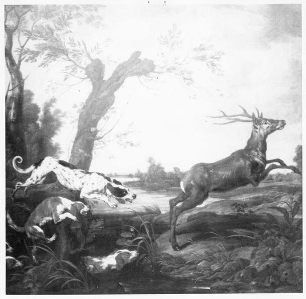 tableau : chasse au cerf (la), vue générale