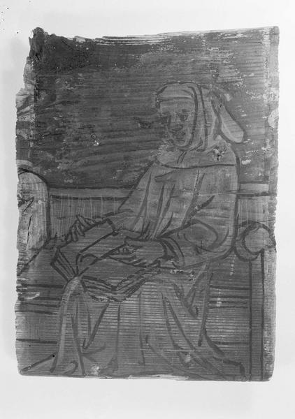 Entrevous peint, plafond d'une salle du 1er étage, aile ouest : moine assis avec livre ouvert