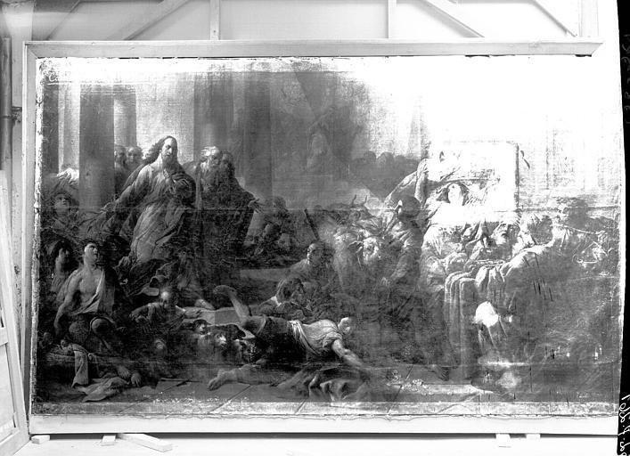 Peinture sur toile : Vendeurs chassés du Temple, état avant restauration