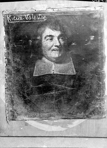 Peinture sur toile : Portrait d'abbé, état avant restauration