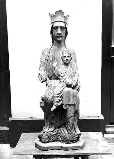 Statue en bois : Vierge à l'Enfant en Majesté