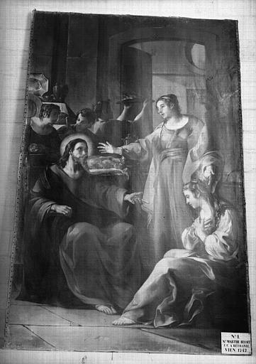 Tableau : sainte Marthe recevant le Christ à Bethanie