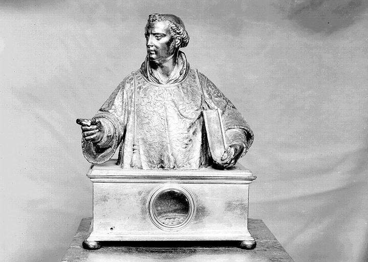 Buste reliquaire de saint Laurent, en vermeil (face)