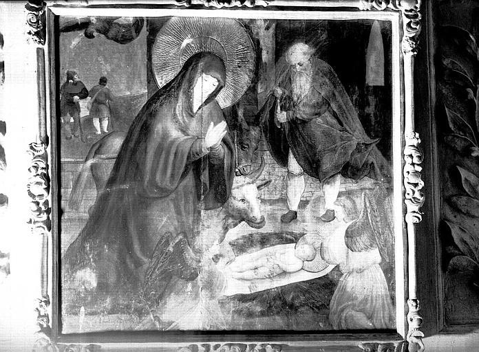 Panneau peint à fond doré provenant du chOeur : La Nativité